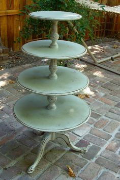 Upcycled Shabby Furniture - Country Cottage Chic Table - Tiered Table - Home Decor - LOCAL ONLY. $450.00, via Etsy.