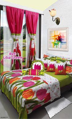Ref: Lilia Green🌷 Disponible en cortinas, cojines, juegos de baño y sábanas en todas las medidas: Sencilla (1mx1.90m), Semi (1.20mx1.90m), Doble (1.40mx1.90m), Queen (1.60mx1.90m) y King (2mx2m) #Layla #Dalotex #Lenceria #Hogar #Sabanas #moda #colors #Tulip #SabanasDalotex #Green #Tulipanes #Flower Bedroom Sets, Girls Bedroom, Bedding Sets, Bed Cover Design, Designer Bed Sheets, Living Room Decor, Bedroom Decor, Indoor Outdoor Furniture, Shabby Chic Bedrooms