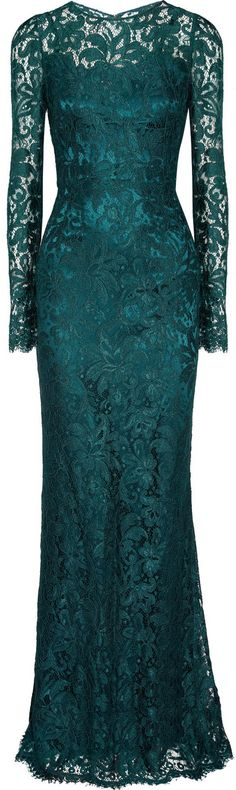 Dolce & Gabbana Lace Gown #teal put this in cream or white and it would be a stunning wedding dress!