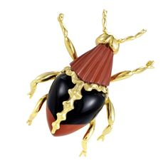 Brown Agate Brown Chalcedony Gold Insect Pin | From a unique collection of vintage brooches at https://www.1stdibs.com/jewelry/brooches/brooches/