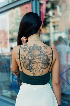 beautiful female illustration back tattoo