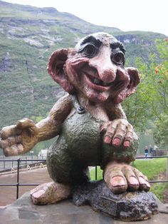 Geiranger troll, Norway. There are five hotels and over ten camping sites. The tourist season stretches from May to early September. Tours of the nearby historic farms of Knivsflå and Skageflå are available from Geiranger.