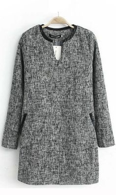 V neck long  cotton dress deep grey