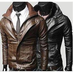 The+Men's+Simple+Double-Collar+Short+Slim+Leather+Jacket+Men+Leisure+Locomotive+Washing+Leather+–+EUR+€+39.84