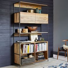 "Rustic Modular 49"" Open + Closed Storage #westelm"