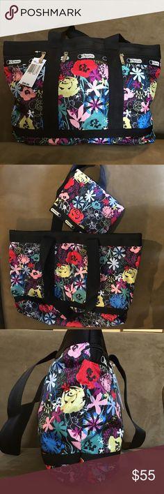 Brand new Lesportsac medium travel tote, Lush Brand new Lesportsac medium travel tote with matching cosmetic pouch, Lush LeSportsac Bags Travel Bags