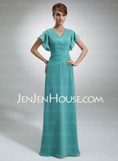 Mother of the Bride Dresses - $156.89 - A-Line/Princess V-neck Floor-Length Chiffon  Charmeuse Mother of the Bride Dresses With Ruffle (008006033) http://jenjenhouse.com/A-line-Princess-V-neck-Floor-length-Chiffon-Charmeuse-Mother-Of-The-Bride-Dresses-With-Ruffle-008006033-g6033