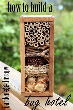 A bug hotel is part garden art and part winter habitat for beneficial insects. Using plant material from around the garden and a cedar box you can create up dif garden hotel How to Build a Bug Hotel Garden Crafts, Garden Projects, Garden Art, Diy Garden, Garden Table, Diy Projects, Bug Hotel, Garden Bugs, Beneficial Insects