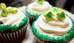 """It's a beer-based cupcake to celebrate the day of green and they'll be gobbled up faster than you can say """"They're magically delicious!"""" --any cupcake with lucky charms on it, I'm sold. Guinness Cupcakes, Beer Cupcakes, Fun Cupcakes, Cupcake Party, Cupcake Cakes, Holiday Recipes, Holiday Ideas, Irish Eyes, Alcohol Recipes"""