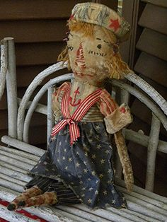 VERY PRIMITIVE Primitive Raggedy Ann. Sailor Red by mustardseed