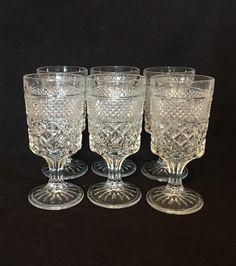 e504aee4cda Large Water Goblets Wexford Wine Glasses Anchor Hocking Vintage Goblets Set  of 6- Wedding Decor