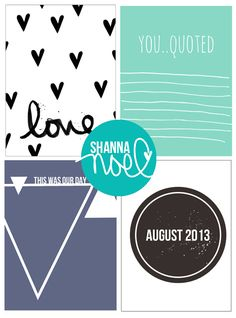 Free Printable Journal Cards from Shanna Noel