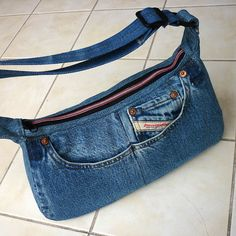 Recycle, upcycle, denim, jeans, pocket, purse, bag, crafting idea