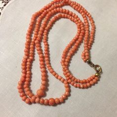 Art Deco Double Strand Coral Necklace
