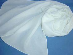 Seidenschal 180x32cm weiß Georgette Jacquard Tosca von Textilkreativhof auf DaWanda.com