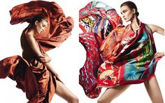 "Hermes 2013 Spring/Summer ""Folie de Soie"" scarfs collection flows with Karlie Kloss"