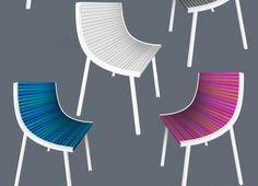 Una profilo in legno o metallo che ricorda le travi IPE, viene assemblato a formare lo scheletro di una sedia.  La seduta è un elemento composto da rulli o da un materassino di gommapiuma rivestiti di tessuto e tra loro intercambiabili.