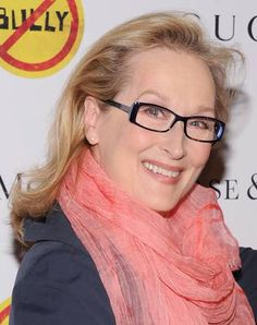 """Meryl Streep looks much younger in this picture as her glasses make her appear more youthful and not so """"dated""""."""