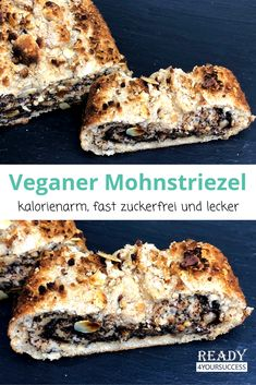Vegan poppy seeds - Our poppy seed sticks are delicious and even suitable for vegans. A fresh striezel always goes, doe - Vegan Breakfast Recipes, Healthy Dessert Recipes, Vegan Recipes Videos, Baking Recipes, Vegan Sweets, Calories, Bakery, Sweet Treats, Strudel