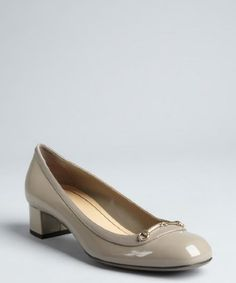 Gucci : putty grey patent leather block heels