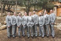 Light gray groomsmen outfit idea - gray suits with white button-downs and blush bow ties {Abbey Lunt Photography} Groom And Groomsmen Pictures, Groom And Groomsmen Outfits, Country Wedding Groomsmen, Gray Groomsmen Suits, Groomsmen Fashion, Bridesmaids And Groomsmen, Wedding Men, Gray Suits, Wedding Suits