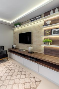 Modern Contemporary Living Room, Living Room Modern, Home Living Room, Contemporary Design, Tv Living Rooms, Tv Wall Ideas Living Room, Wall Cabinets Living Room, Contemporary Tv Units, Living Room Wall Units