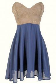 Strapless Floral Lace Bustier Dress in Beige/Indigo