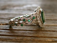Green Emerald Vine Ring in 14K White Gold with Diamonds in