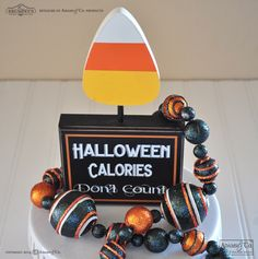 """""""Halloween Calories Don't Count"""" wood block with Candy Corn. Halloween sign, Halloween decorations #Halloween #candycorn #candy #calories #adamsandco #krumpets"""
