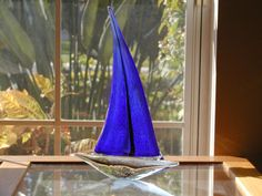 Murano Hand Crafted Cobalt Blue Sailboat by SandECollectibles, $77.95