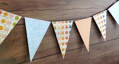 Paper bunting banner 4.3m long blue & orange by SummerLimeDesigns