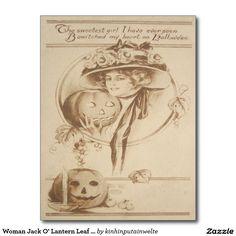 Woman Jack O' Lantern Leaf Candle Postcard