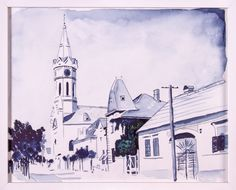 Mainstreet 1970 Mörbisch Watercolor on paper Watercolor, Paper, Painting, Watercolor Painting, Painting Art, Paintings, Paint, Draw, Watercolors