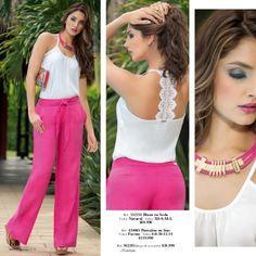 Ref. 454615 Blusa en crepe Color: Fucsia · Tallas: S-M-L-XL · $99.990 Ref. 434202 Pantalón en lino Color: Turquesa · Ta... Más