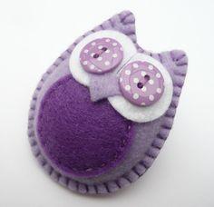 Owl Felt Brooch (purple)