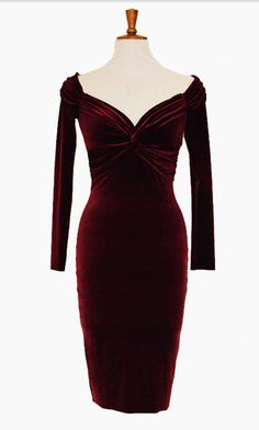 Cocktail velvet dress in burgundy with a flattering bardot neckline, long sleeves, twisted waistline, and pencil skirt . The material its a soft two way stretch velvet that drapes beautifully on the hips. Perfect for wowing the in-laws at Christmas parties! Sizing details are as follows: