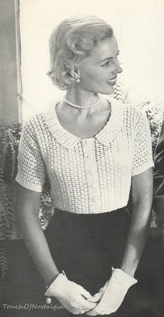 1950 LACY BLOUSE Crochet Pattern Vintage   by touchofnostalgia7