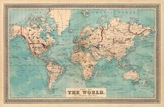 Old map   World map  Map of the World   by AncientShades on Etsy, $28.00
