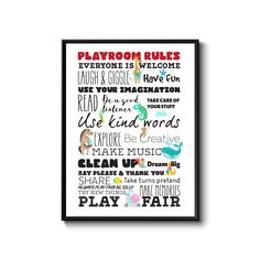Excited to share the latest addition to my #etsy shop: Playroom wall art, playroom rules, playroom decor, playroom prints, customize, wall art, artwork prints, gift, rainbow baby, nursery decor http://etsy.me/2iFAFPq #art #printmaking #rainbow #white #wallart #playroomrules #play