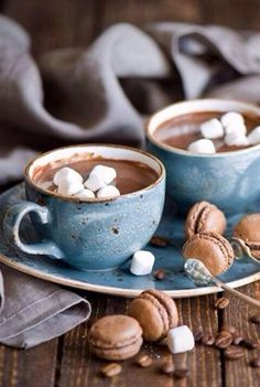 Hot chocolates and macaroons? We'll take one of each please.