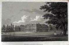 Kensington Palace, South Front  An antique line engraving by J. Storer after T. Taylor (1809) Visible in the lounge by John's chair.