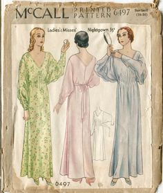 vintage sewing pattern 1920s 20s gown butterfly sleeves pintucks