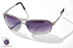 Buy Designer sunglasses authentic wear gunmetal lens fiber glasses silver frame for men's fashion • GujaratMall.com