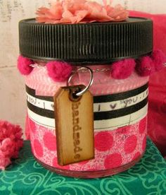 """recycled spice jar covered in washi tape + """"handmade"""" sustainable wood tag from ARTchix Studio"""