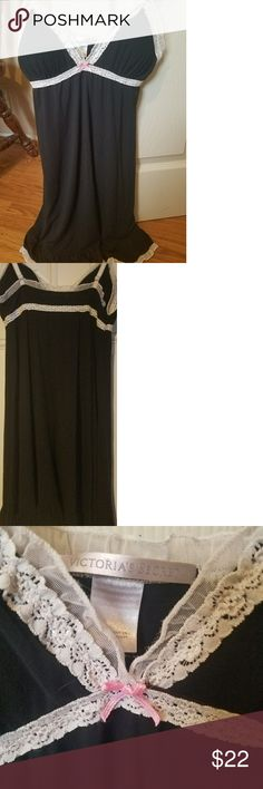 Victoria's Secret nightie sz small Beautiful Victoria's Secret black nightie with white lace trim sz small. 91% modal, 8% elastane. Super soft!! Victoria's Secret Intimates & Sleepwear Pajamas
