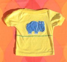 77d04842e vintage 70s kid tee HIPPO boatneck girl yellow animal 80s t-shirt children  Small 4 5