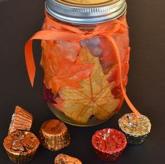 Fall Leaf Mason Jar A fun craft for kids as well as adults. Fill with candy or add a tea light candle! #fall craft, # Thanksgiving craft