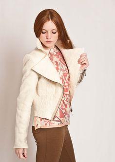 Creamy white felted biker style jacket!