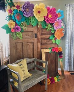 Colourful paper flower Photoop on a choices. Just select the option according to your 9987874663 Mexican Birthday Parties, Mexican Fiesta Party, Fiesta Theme Party, Paper Flower Wall, Paper Flower Backdrop, Paper Flowers, Mexican Party Decorations, Aloha Party, Tropical Party