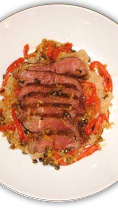 Seared Steak with Pepperonata and Cannellini Bean Mash via @AOL_Lifestyle Read more: http://www.aol.com/food/recipes/seared-steak-pepperonata-and-cannellini-bean-mash